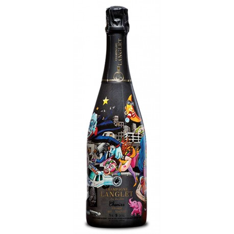 Champagner Langlet, Extra Night, Premier Cru. Bottle design and painting by CHAMIZO. 0,75 L
